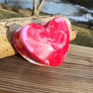 Handmade Heart Epoxy Resin Jewelry Box with Lid